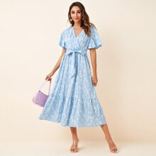 Ditsy Floral Surplice Front Belted Dress