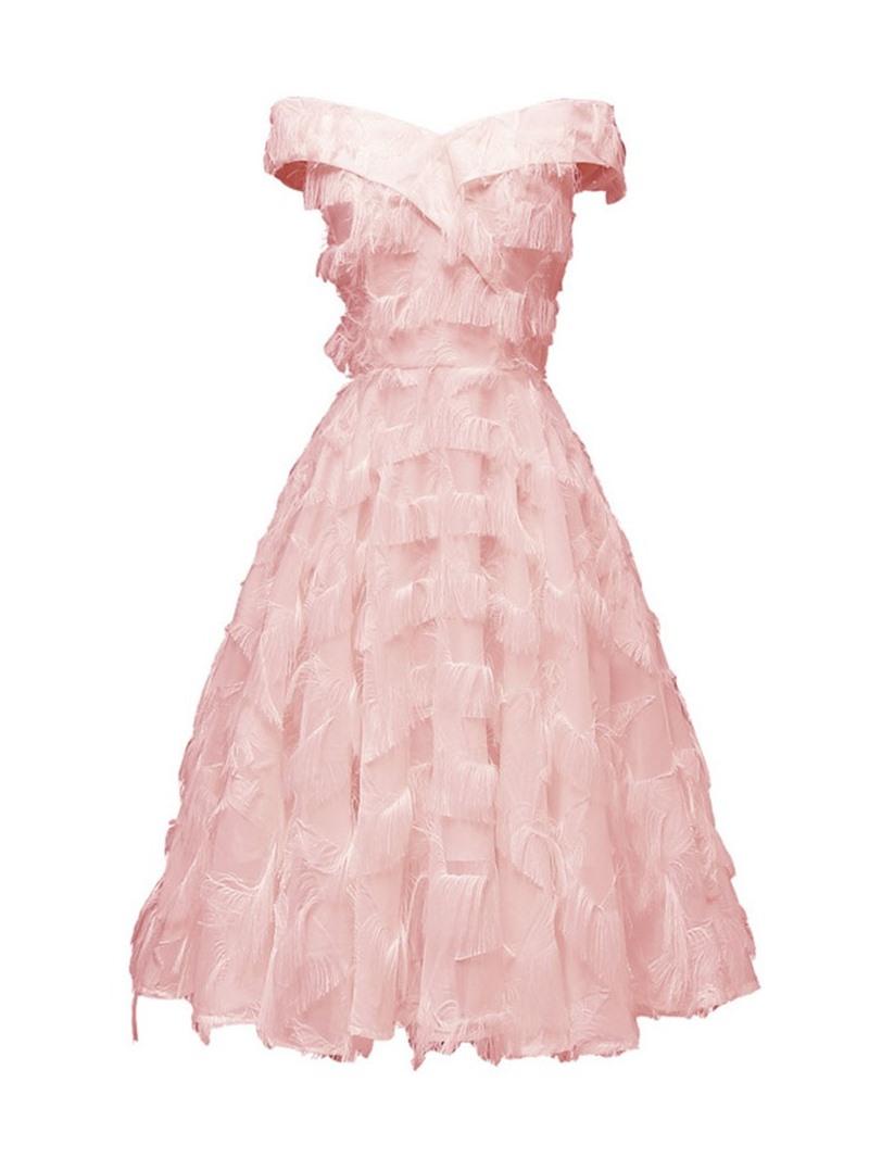 Ericdress V-Neck Knee-Length Tassel Mid Waist Dress