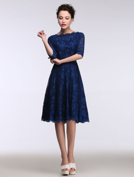 Milanoo Lace Mother's Dress Short Bateau Prom Dress Half Sleeve A Line Knee Length Wedding Guest Dresses