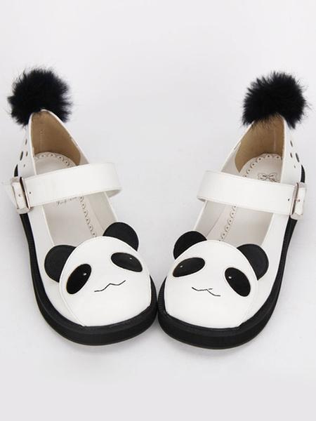 Milanoo Sweet Lolita Shoes Black White Panda Mary Jane Lolita Platform Shoes With Black Furry Ball