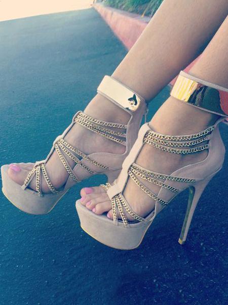 Milanoo Apricot Sexy Shoes Women Open Toe Chain Detail High Heel Sandals
