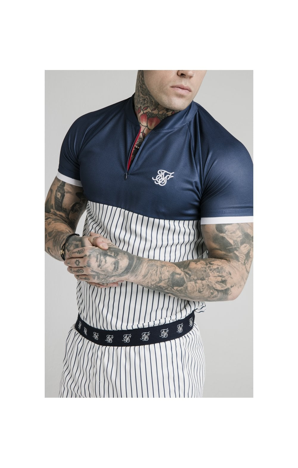 SikSilk S/S Pinstripe Baseball Tee - Navy & White MEN SIZES TOP: X