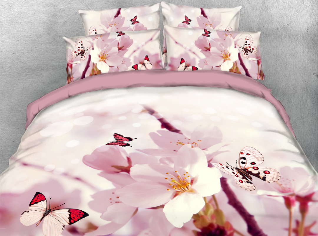 Pink Peach Blossom and Butterfly Zipper Colorfast Hard-wearing Duvet Cover 4-Piece Soft Spring Floral Bedding Sets with Corner Ties