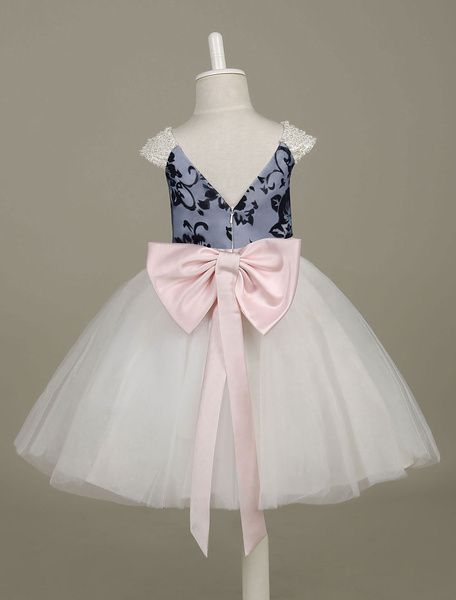 Milanoo Flower Girl Dresses Pearls Beaded Tutu Dress Tulle Contrast Color Printed A Line Ribbon Bow Sash Pageant Dress