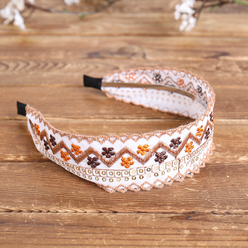 Ethnic Embroidery Lace Girl Headband Rural Girl Wind Suede Floral Fabric Headband Hair Accessories