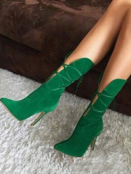 Milanoo High Heel Boots Women Pointed Toe Lace Up Booties