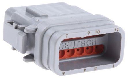 Deutsch , DTM Automotive Connector Plug 2 Row 12 Way, Crimp Termination, Grey
