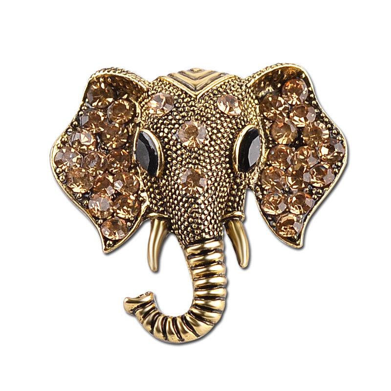 Vintage Elephant Head Rhinestone Brooch Silver Gold Animal Breastpin Jewelry for Women