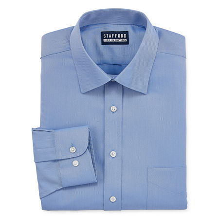Stafford All Season Cool Max Mens Point Collar Long Sleeve Stretch Cooling Moisture Wicking Dress Shirt Big And Tall, 22 38-39, Blue
