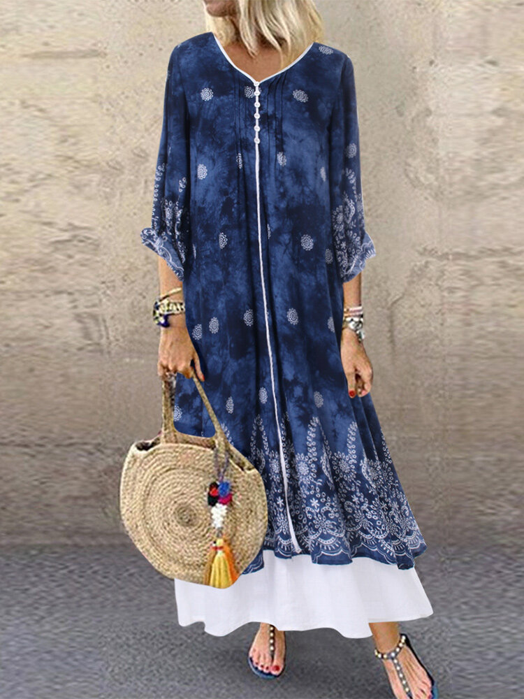 Vintage Bohemian Print Patch V Neck Pockets Summer Dress