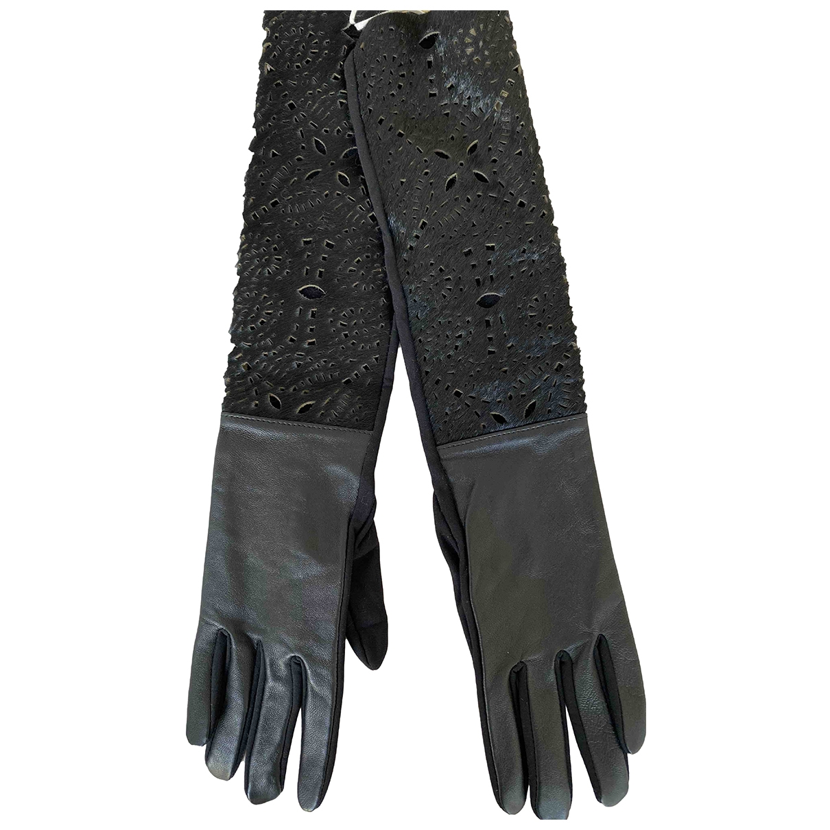 Non Signé / Unsigned \N Black Leather Gloves for Women S International