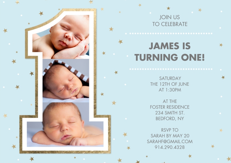 1st Birthday Invitations 5x7 Cards, Premium Cardstock 120lb with Elegant Corners, Card & Stationery -Birthday One Gold Blue