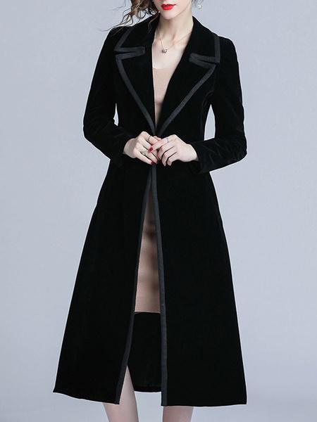 Milanoo Woman Coat Black V Neck Long Sleeves Buttons Classic Maxi Coat