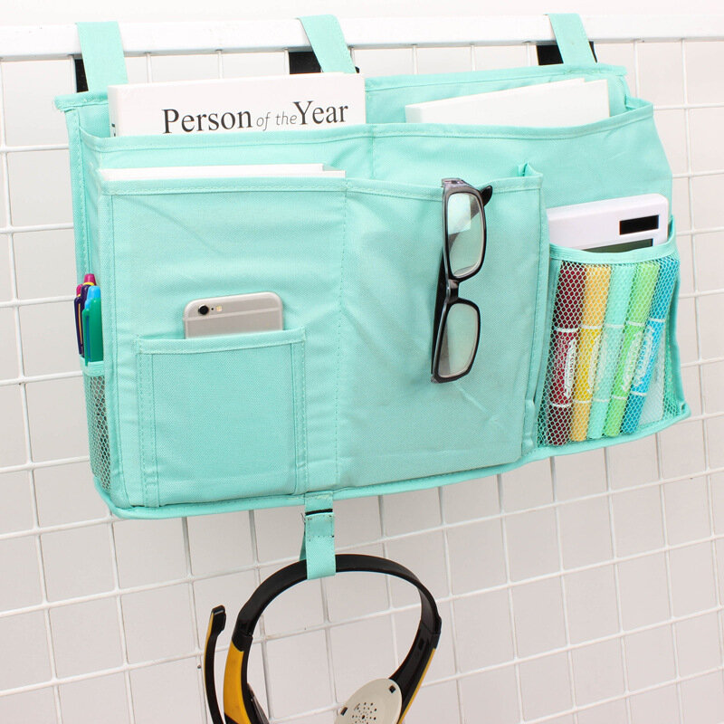 Oxford Cloth Multi-function Bed Hanging Bag Book Stationery Bedside Storage Bag