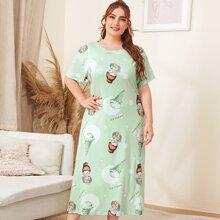 Plus Ice-cream & Cartoon Girl Print Night Dress