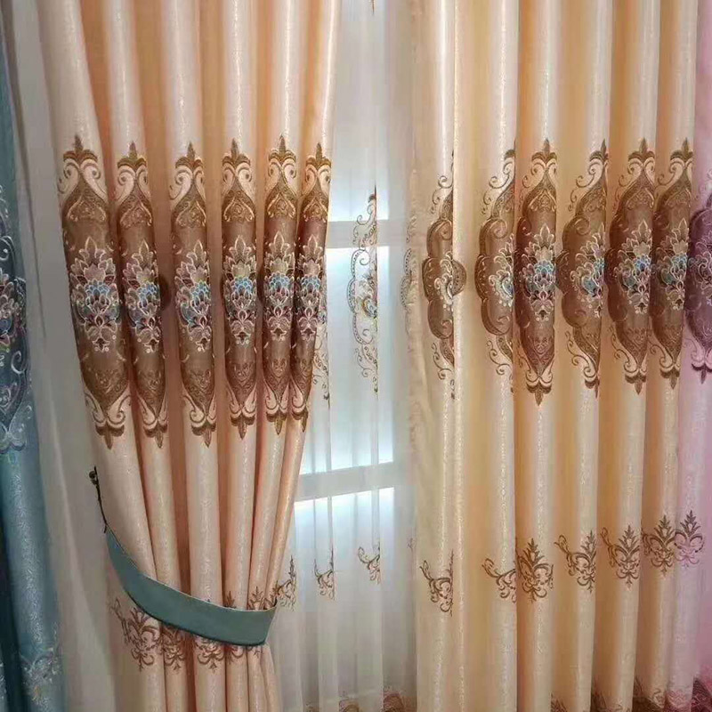 Custom Blackout Window Curtains Embroidered 2 Panels Drapes for Living Room No Pilling No Fading No off-lining