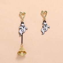 Ghost Charm Mismatched Drop Earrings