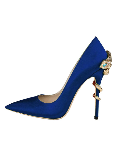 Milanoo Satin Evening Shoes Women Pointed Toe Metal Detail High Heel Party Shoes