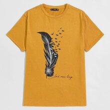 Men Bird and Slogan Graphic Top