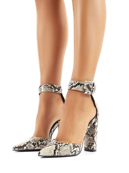 Milanoo High Heels Pointed Toe Snake Print Ankle Strap Chunky Heel Buckle Light Gray Pumps