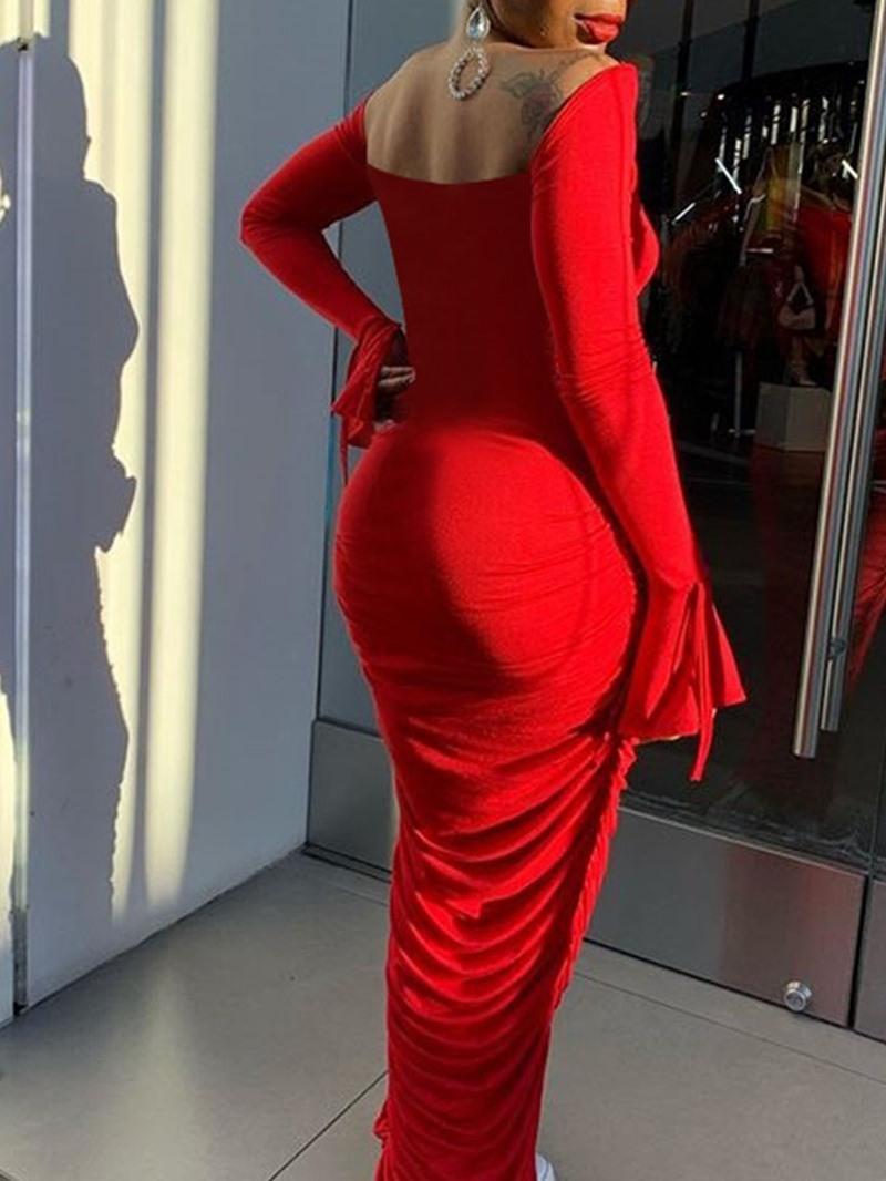 Ericdress Pleated Long Sleeve Floor-Length Flare Sleeve Plain Dress