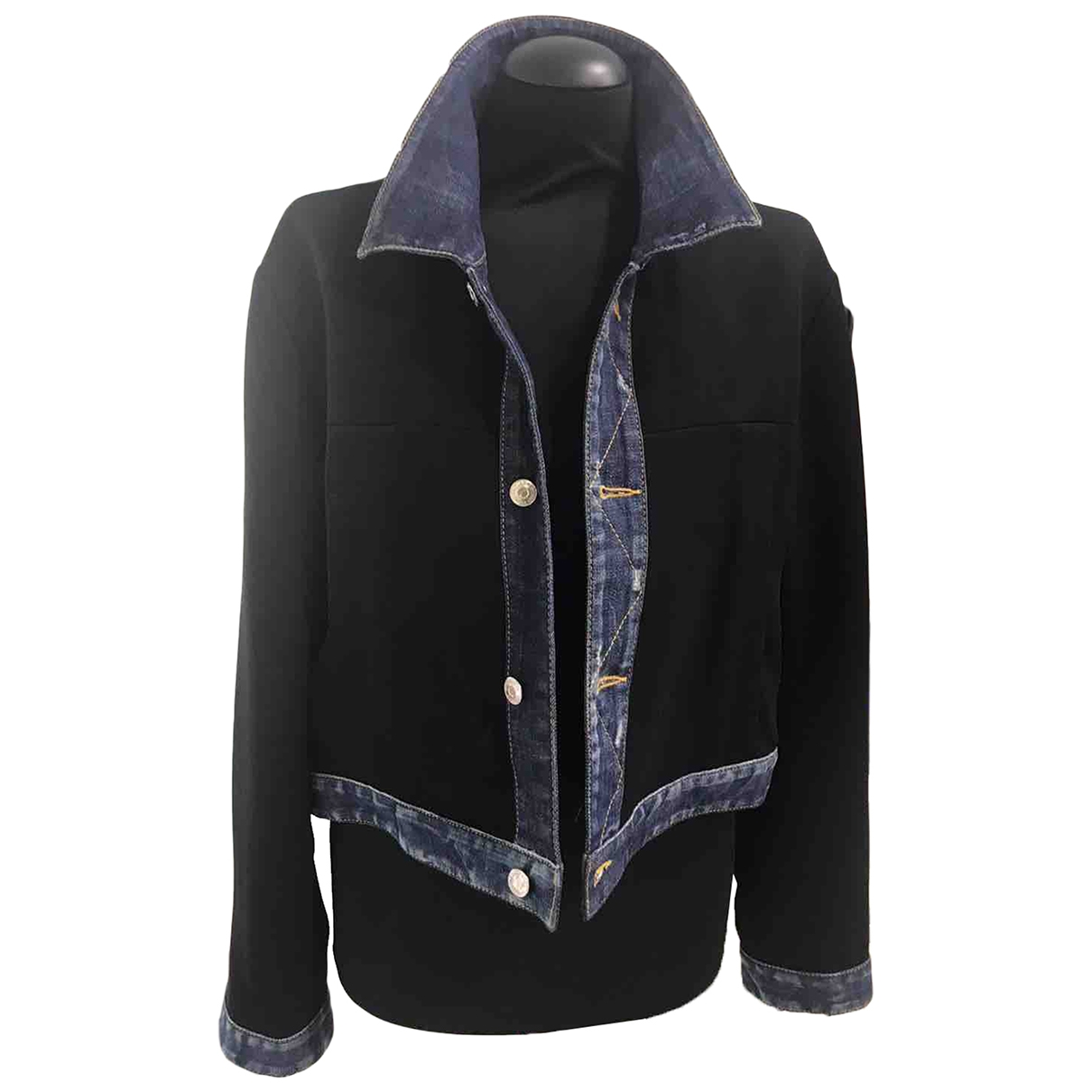 Dsquared2 \N Blue Denim - Jeans Leather jacket for Women 44 IT