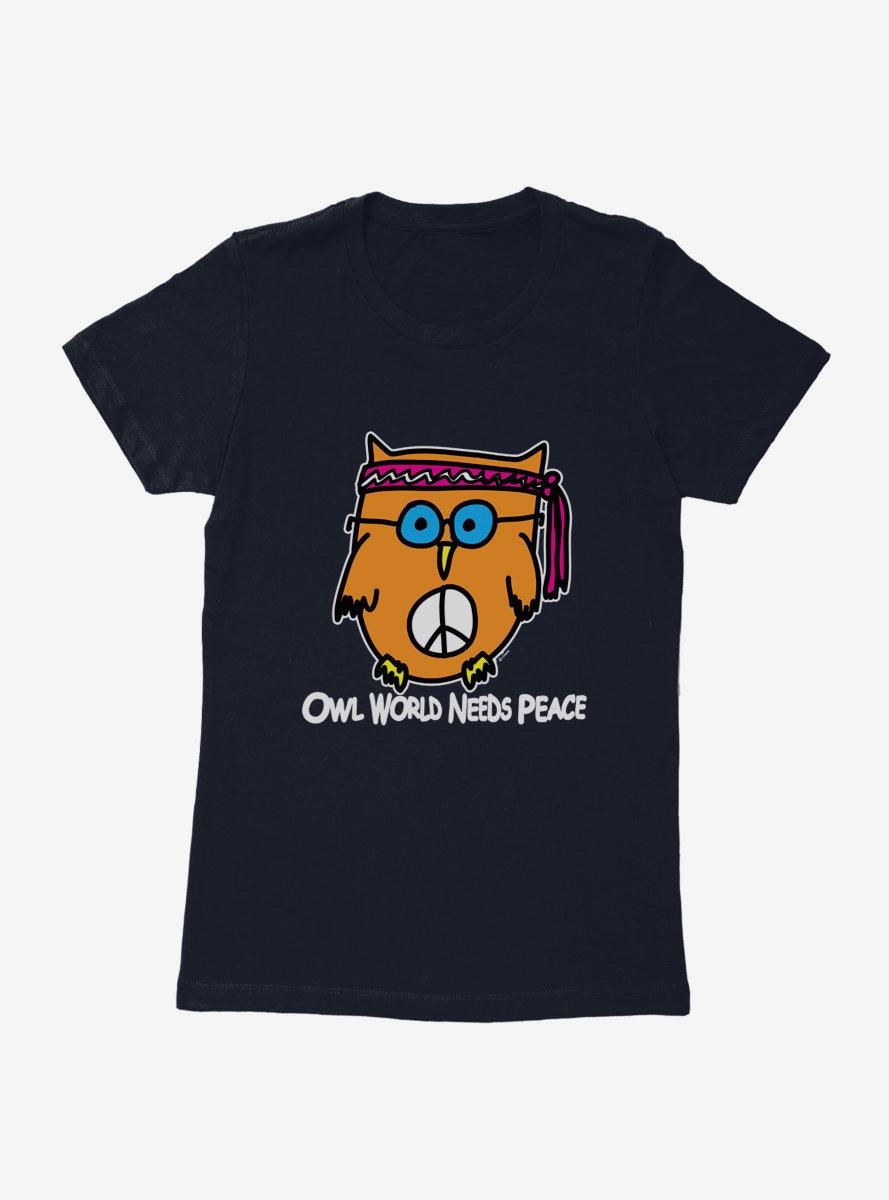 i-Create Owl World Needs Peace Womens T-Shirt