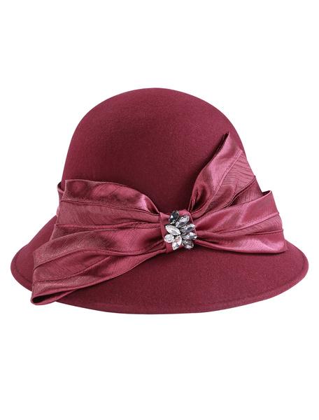 Milanoo Retro Wool Cloche Hat Women Vintage Felt Cap Bows Royal Hair Accessories Halloween