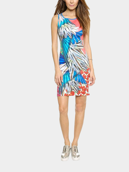 Yoins Wing Print Sleeveless Dress With Cut-out Back