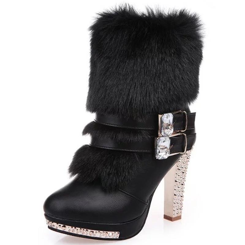 Ericdress Charming Furry Side Zipper High Heel Boots