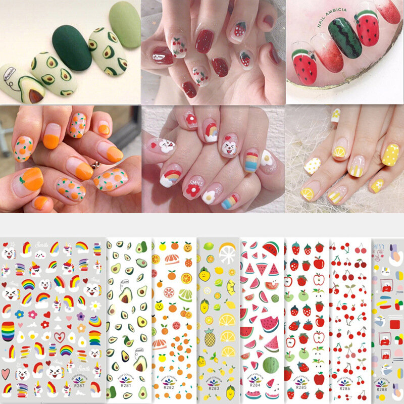 3D Colorful Nail Sticker Fruit Rainbow Series Simple Lovely Decoration Manicure Sticker