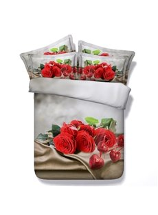 3D Rose Bouquet Prined Luxury Style 5-Piece Comforter Sets