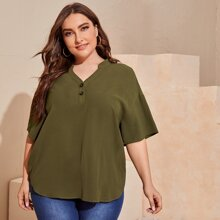 Plus Buttoned Half Placket Drop Shoulder Top