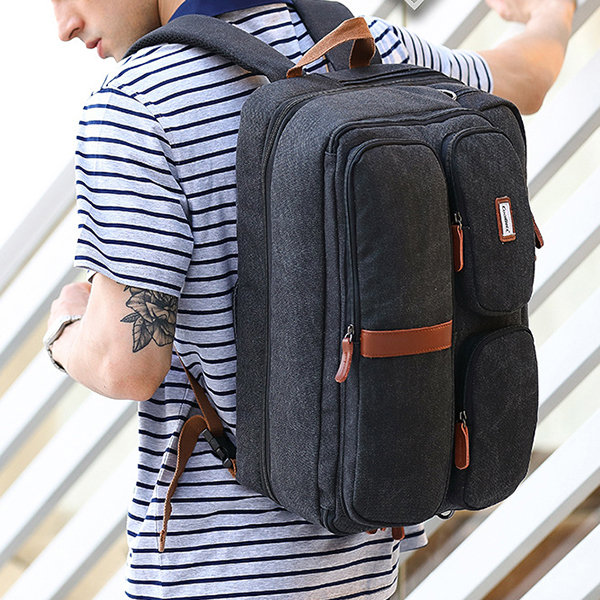 Canvas Business 17.3 Inch Laptop Waterproof Backpack Casual High Capacity Multifunction Bags For Men