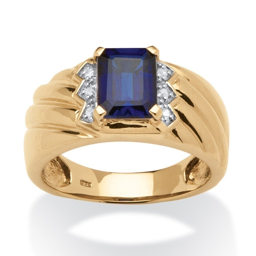 Men's 1.90 TCW Emerald-Cut Sapphire and Diamond Accent Ring in 18k Gold over Sterling Silv - Blue (12)