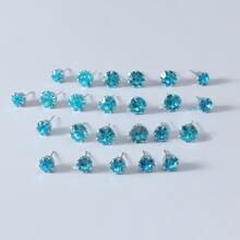 12pairs Men Rhinestone Decor Stud Earrings