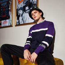 Men Slogan Pattern Color Block Sweater