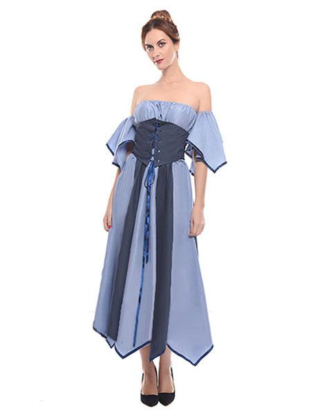 Milanoo Retro Costume Medieval Renaissance Off The Shoulder Baby Blue Dress Women Halloween