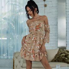 Yilibasha Off Shoulder Frill Trim Floral Dress