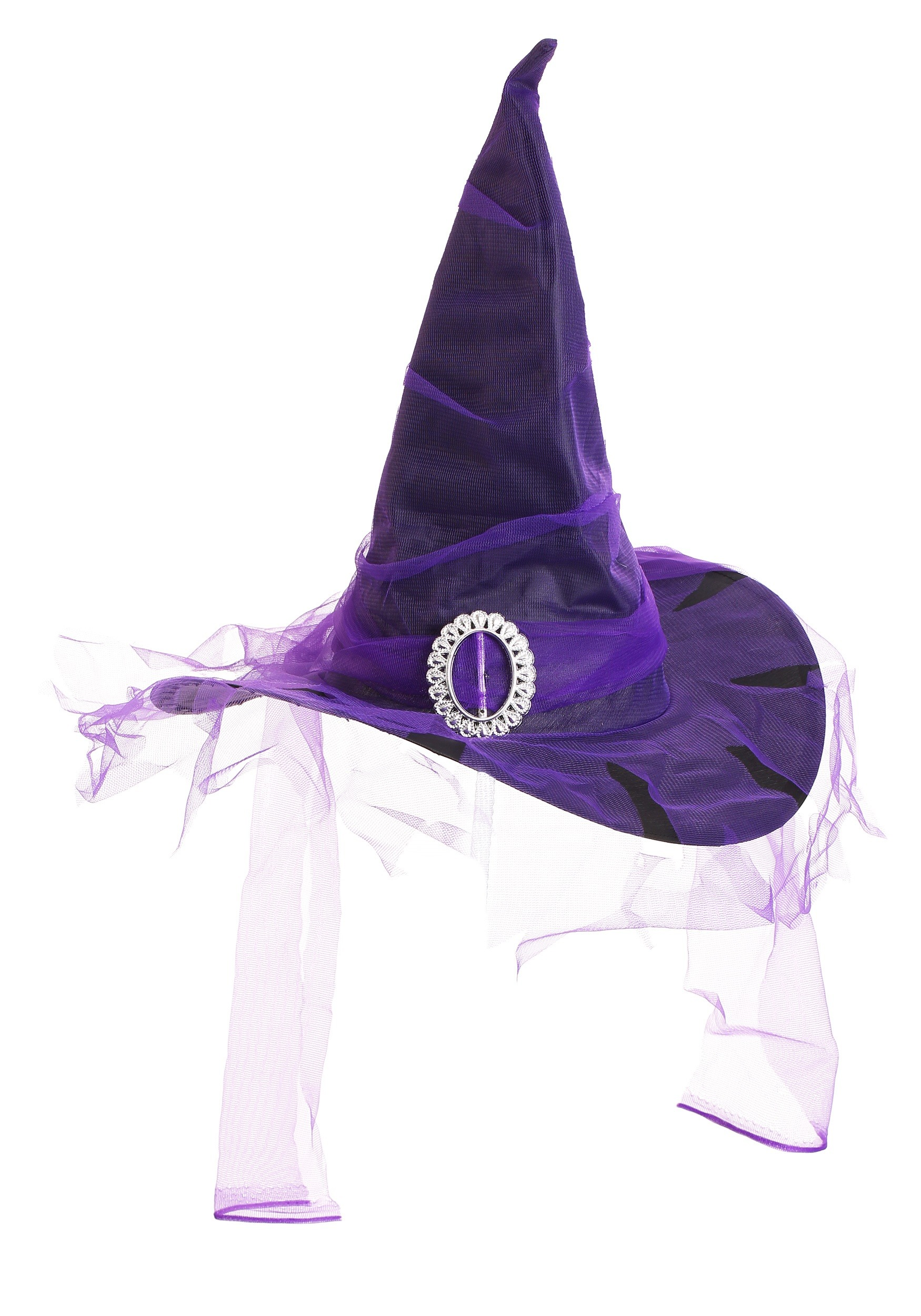 Black Witch Hat with Purple colored Veil