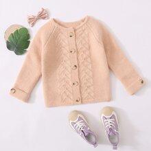 Toddler Girls Button Front Raglan Sleeve Cardigan