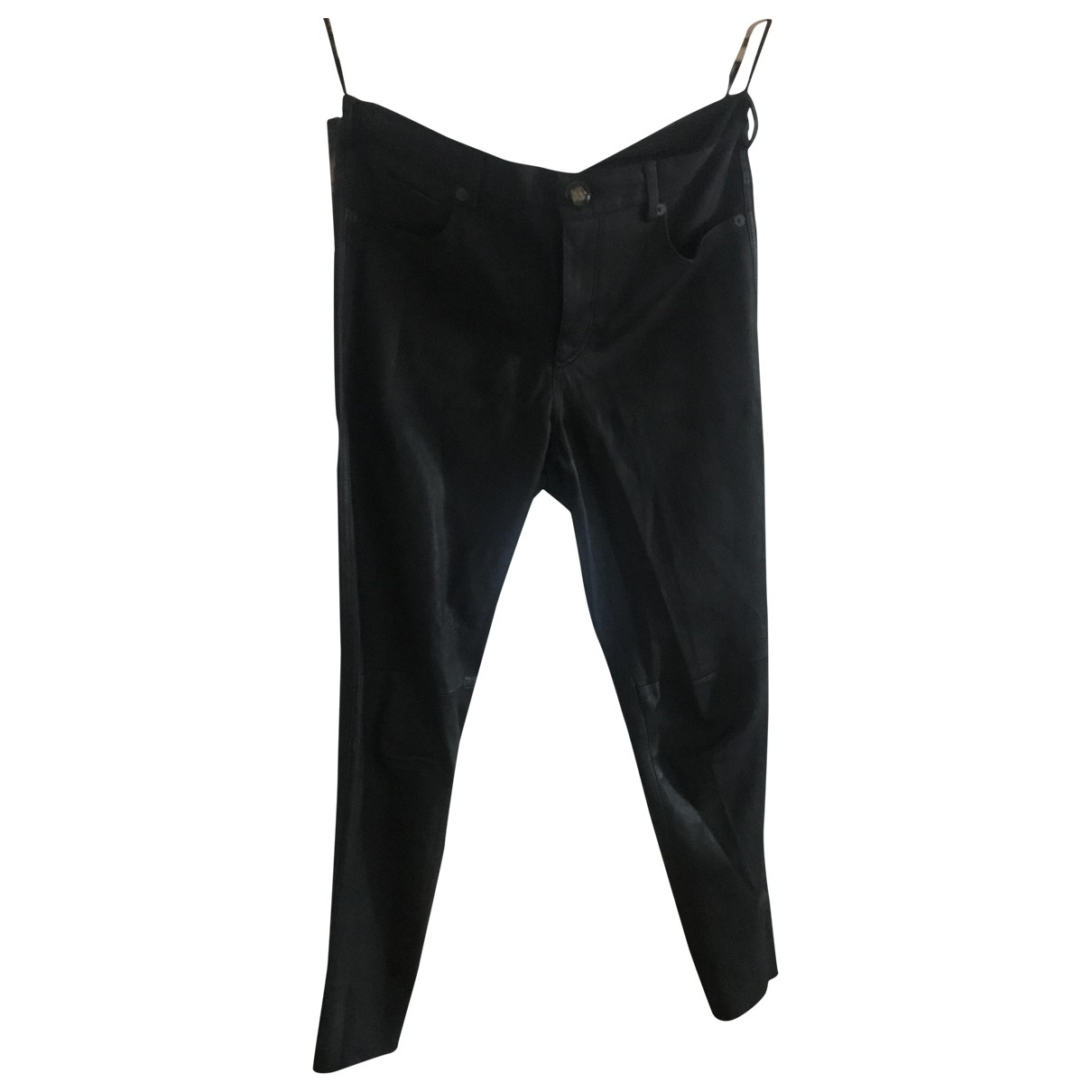 Gucci \N Black Leather Trousers for Women 40 IT