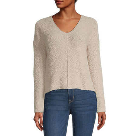 Rewind-Juniors Womens V Neck Long Sleeve Pullover Sweater, Small , Beige