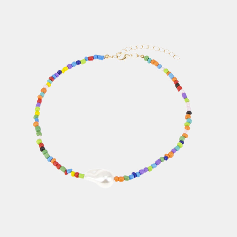 Ethnic Geometric Irregular Pearl Pendant Necklace Colored Hand-beaded Necklace Clavicle Chain