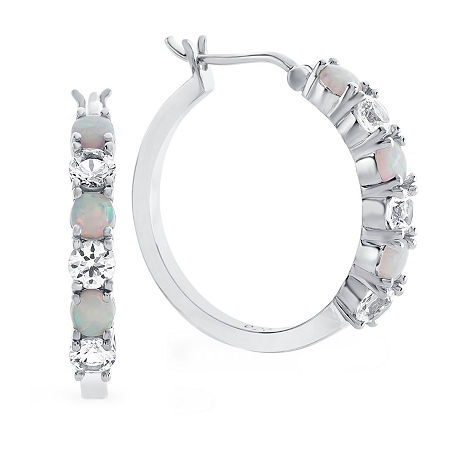 Lab-Created Opal & White Sapphire Sterling Silver Hoop Earrings, One Size , No Color Family