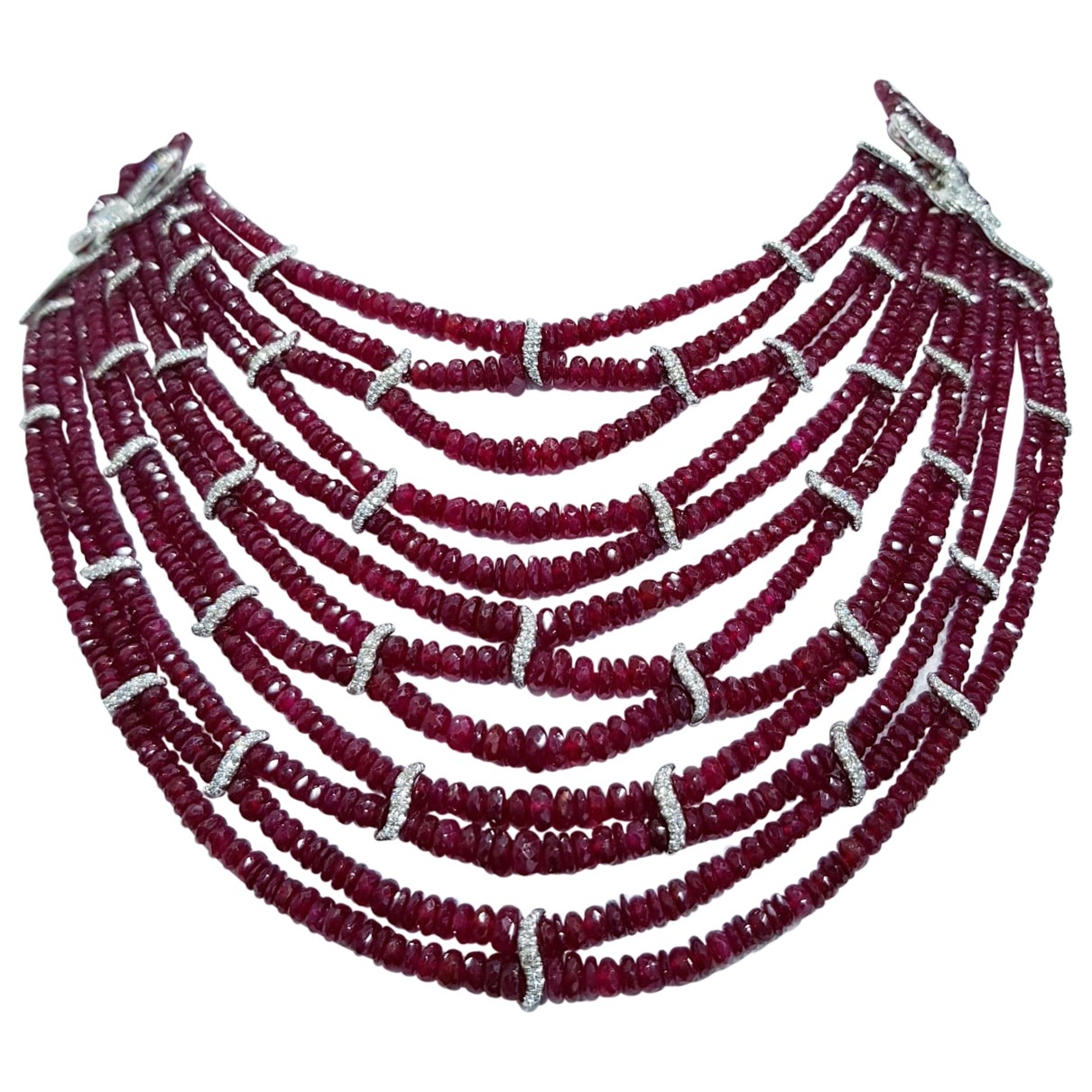 Non Signé / Unsigned Rubis Red White gold Long necklace for Women \N