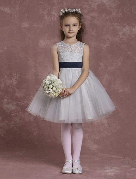 Milanoo Flower Girl Dresses Tulle Lace Pageant Dresses Toddler's Zipper Knee Length A Line Dinner Dress With Sash