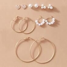 1pair Faux Pearl Stud & Hoop Earrings