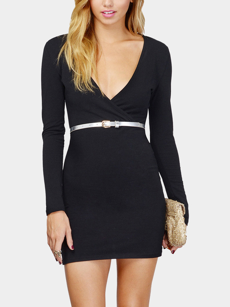 Yoins Black Wrap V-Neck Body-Conscious Mini Dress