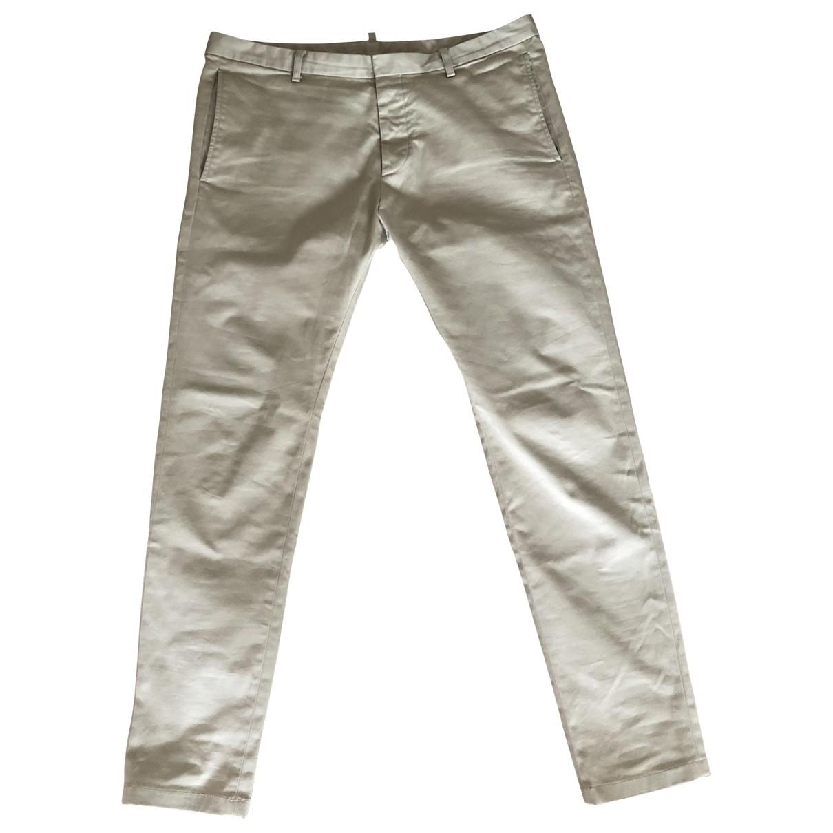 Dsquared2 \N Khaki Cotton Trousers for Men 50 IT